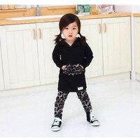 Eafreloy Trẻ Em của Bộ Mùa Xuân Và Mùa Thu Girls 'Mặc Leopard Sensual Áo Len Xà Cạp Váy-Piece Quần T-Shirt Thiết L283