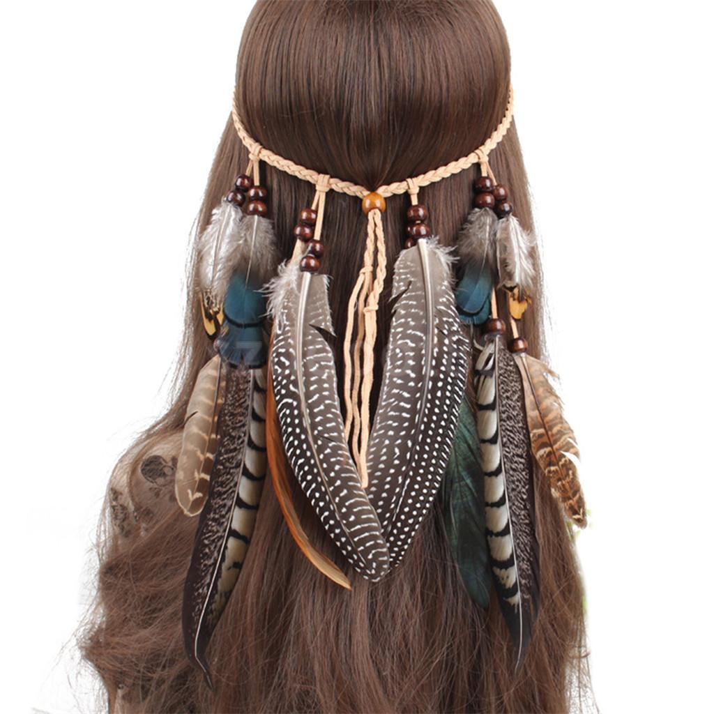 Hippie Indian Feather Shape Headband Boho Weave Feathers Hair Rope Headdress