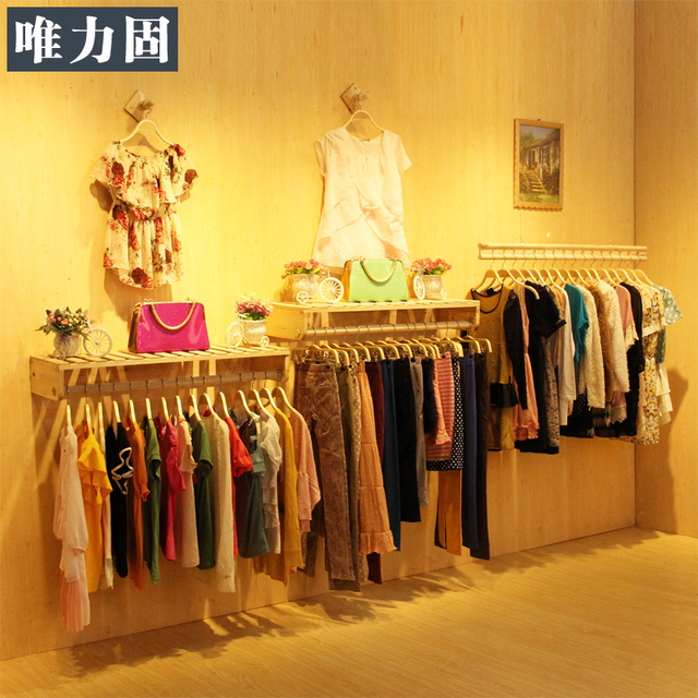ce6d97b9b IKEA style solid wood furniture women's clothing store shelf display rack  on the wall hanger wood wall hanging