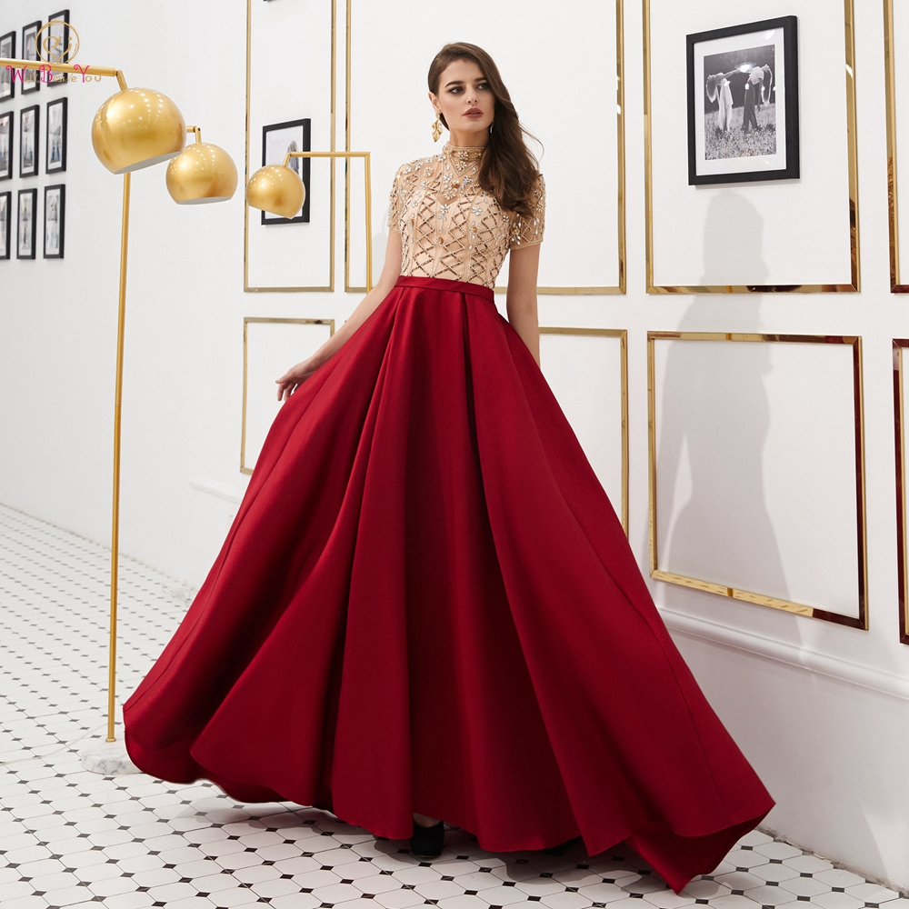 Prom     Dresses   2019 Elegant Long Graduation Evening Gowns Rhinestone Beading High Neck Short Sleeves Satin Illusion Vestido Formal