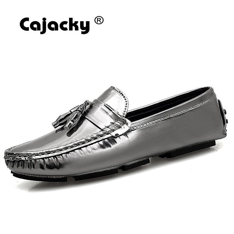 Cajacky Men Loafers Plus Size 47 46 Fashion Tassel Loafers Male New Design Driving Loafers Silver Black Mocasines Hombre Slip On