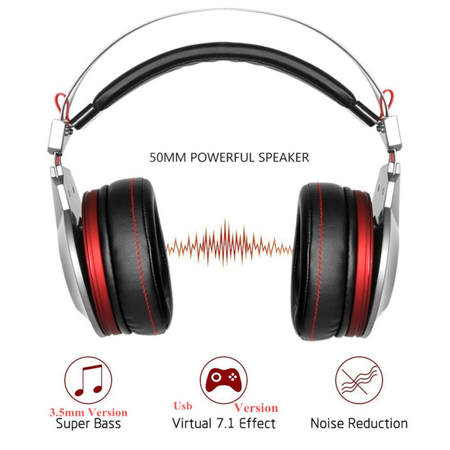 Best Gaming Headphones with Microphone USB 7.1 Sound/3.5mm Heavy Bass Game Headset for PC Gamer