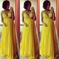 9304W Elegant Vestido longo V Neck Yellow Chiffon Sexy Long Pregnant Evening Dresses 2017 New Modest Formal Gowns Robe de soiree
