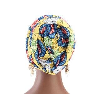 Image 5 - Müslüman kadınlar baskı pamuk sünger çapraz türban şapka kanser kemoterapi kemo kasketleri Caps Headwrap saç dökülmesi kapak aksesuarları