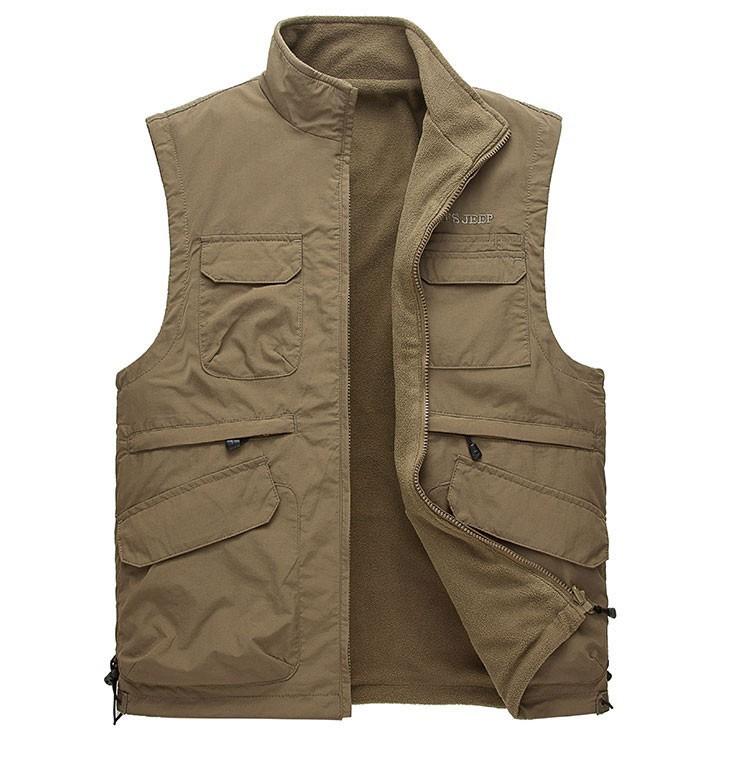 2015 Autumn Spring Casual Men Vest Coat Fleece AFS JEEP Cotton Multi Pocket 4XL Cargo Outdoor Sleeveless Jackets Waistcoat Vests (9)