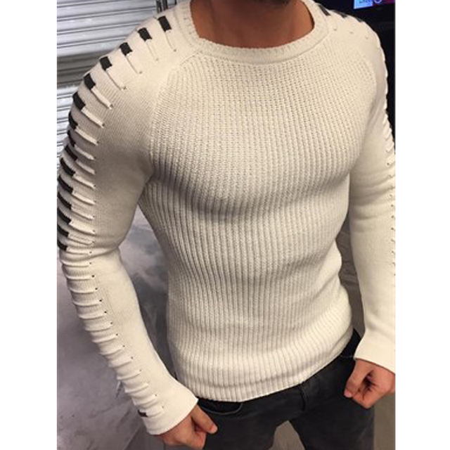 Winter Men Casual Warm Slim Sweater Knitted Striped Long Sleeve Patchwork Pullover Male Elastic Solid Sexy Spring Basic Tops   3