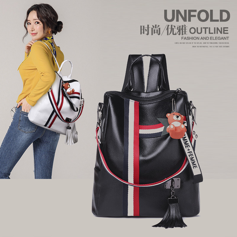 Image 3 - WHITE BLACK Bags For Women 2019 New Fashion Zipper Ladies Backpack PU Leather School Bag Crossbody shoulder bag for you-in Backpacks from Luggage & Bags
