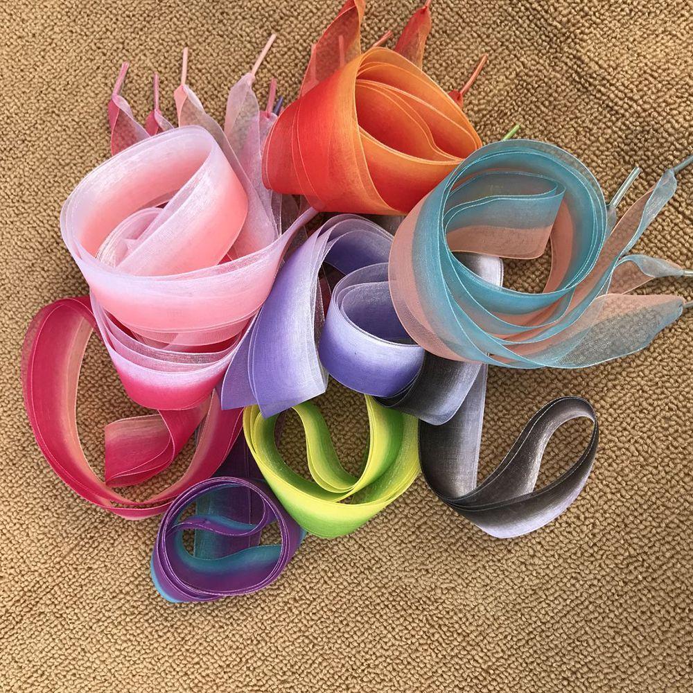 1 Pair Bohemia 120cm Flat Change Color Shoe Laces Wide Silk Ribbon Shoelaces Gradient Color Laces Shoe Sneaker Sport Shoes Lace цена 2017