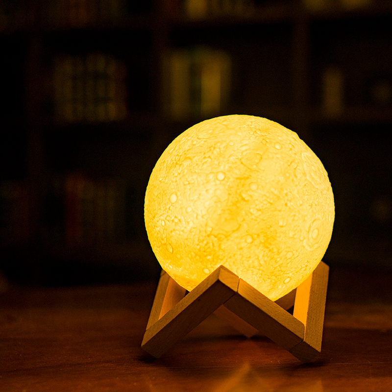 LED 13cm 18cm 3D Printing Lunar Three-dimensional Moon Light Creative Charging Small Lamp Bedside Lamp Romantic Atmosphere