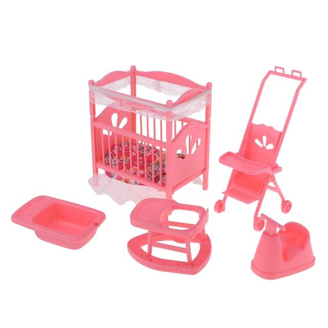 Plastic Diy Baby Kids Nursery Room Play Set Furniture For Barbie Doll House Pretend