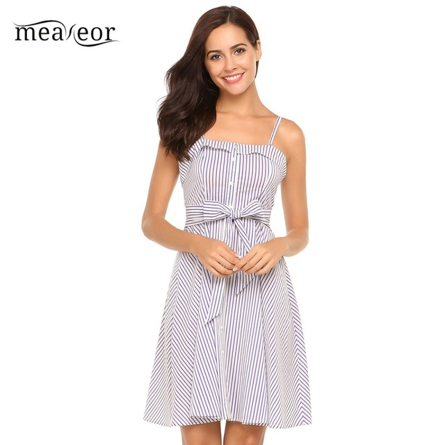 Meaneor Casual Women Sleeveless Strapless Self-tie Blue Striped Off Shoulder Tunic A-Line Dress 2018 Summer Dress
