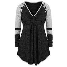 Модная женская одежда на весну и осень, дизайн, размер плюс, Женский v-образный вырез, с длинным рукавом, с кольцом, со складками, контрастная строчка, Топ