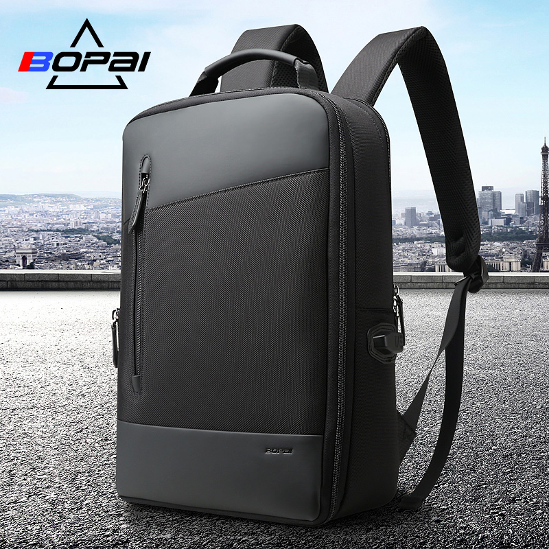 BOPAI Nylon Men Backpack Office Anti Theft With USB Charging Laptop Business Unisex Knapsack Shoulder Waterproof