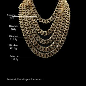 Image 5 - 13mm Hip Hop Miami Curb Cuban Chain Necklace Golden Iced Out Rhinestones CZ Bling Rapper Link Silver Color Necklaces Men Jewelry