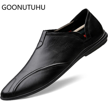 2019 new fashion mens shoes casual genuine leather cow loafers male classic brown black shoe man driving for men hot sale