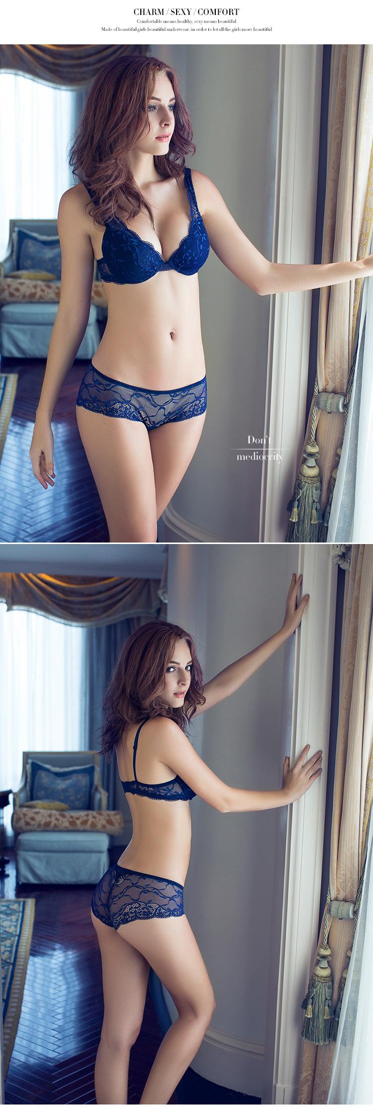 17 Women underwear bra suit Push Up Bra Set Sexy Deep v gather adjustment female lingerie Lace Bra and pants sets 75 B C Cup 3