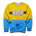 2016 New Autumn Winter Men 3d Print Sweatshirts Minions Funny Cat One Piece Anime Hoodies Long Sleeve O-neck Women Fashion Style