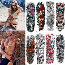 Tatuagem temporária do braço completo da luva, dragão oriental, flores de lótus, homens, mulheres