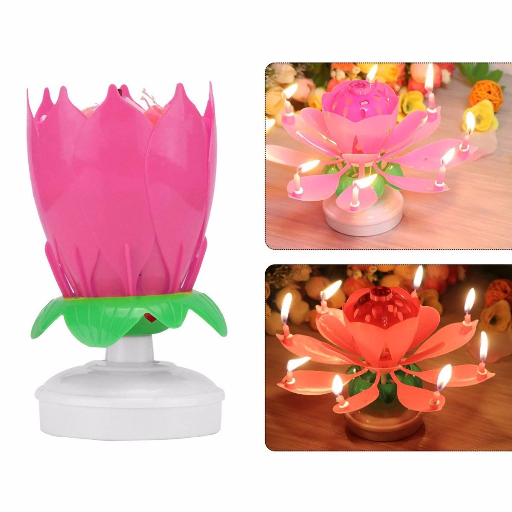 Birthday Candle Romanticdecoration Music Musical Lotus Flower Bougie Anniversaire Pink Double Rotation Of Singing