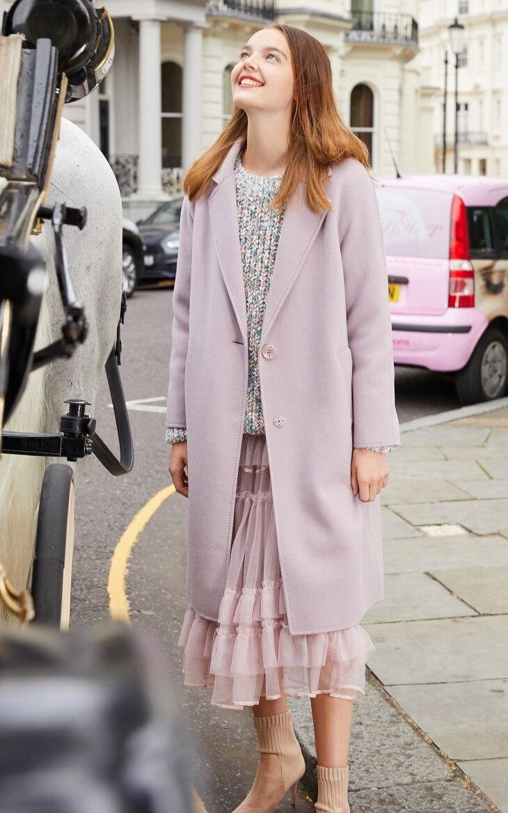 Vero Moda Women's new 100% wool double-sided single buckle minimalist woolen overcoat | 318327505 9