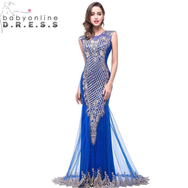 Robe de Soiree Longue Royal Blue Golden Lace Mermaid Long   Evening     Dress   Sexy Transparent   Evening   Gowns Vestido de Festa