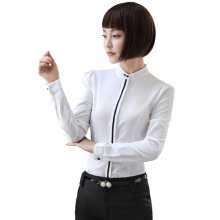 Women Chiffon Shirt Business Career Office Lady White Blouse Elegant Style Long Sleeve Tops Professional Formal Wear plus size