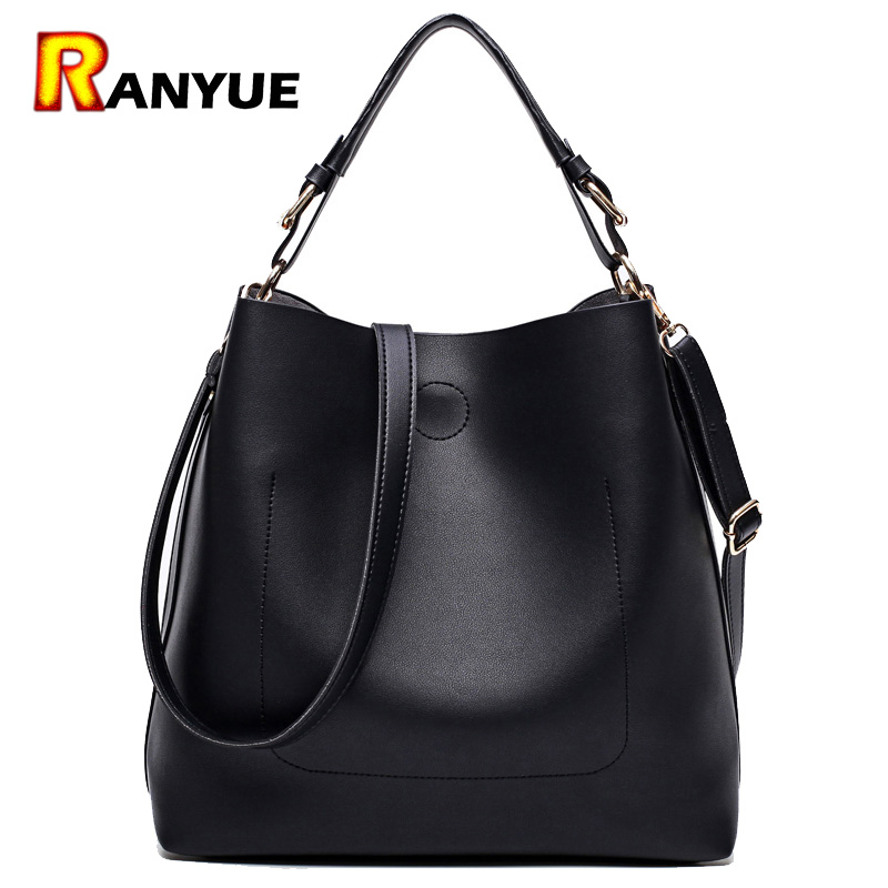 High Quality Leather Women Bag Bucket Shoulder Bags Solid Big Women Handbag Set Large Capacity Tote Bolsas Feminina Famous Brand high quality travel canvas women handbag casual large capacity hobos bag hot sell female totes bolsas ruched solid shoulder bag
