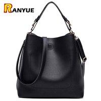 High Quality Leather Women Bag Bucket Shoulder Bags Solid Big Women Handbag Set Large Capacity Tote