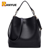 High Quality Leather Women Bag Bucket Shoulder Bags Solid Big Women Handbag Set Large Capacity Tote