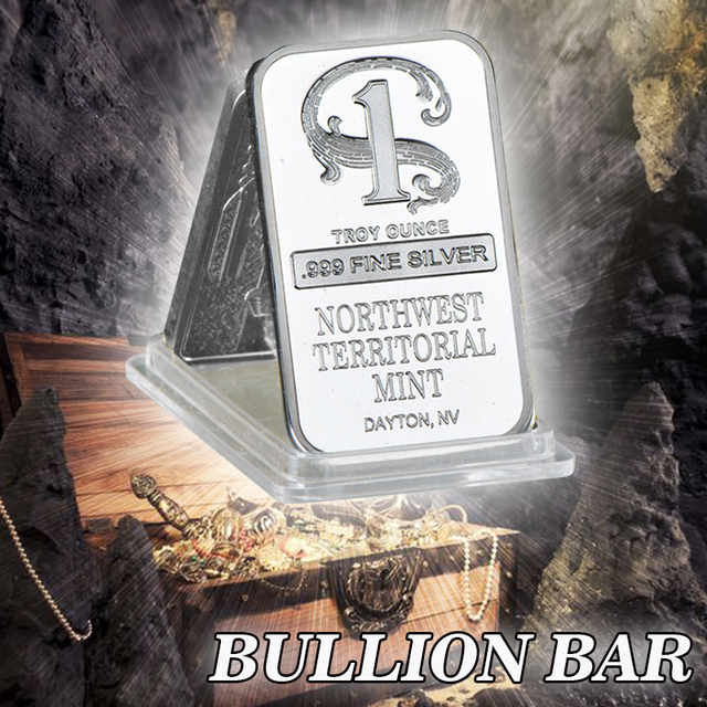 WR Quality Silver Plated Metal Bar Northwest Territorial Mint Art Crafts Bullion Bar Silver Coin for Home Collection Souvenir