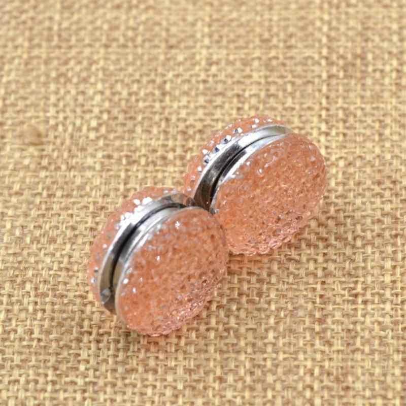 Fashion 2 Pcs Warna Solid Wanita Plastik Muslim Jilbab Abaya Gesper Bros Magnetik Selendang Panas Dijual Syal Magnet Pin # h12 ^