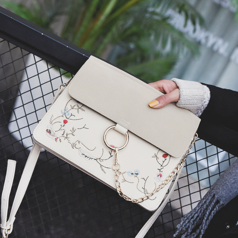 Women Bags 2017 PU leather shoulder bags Women Messenger Bags Floral tote Bag Ring Designer Handbags High Quality bolsos mujer