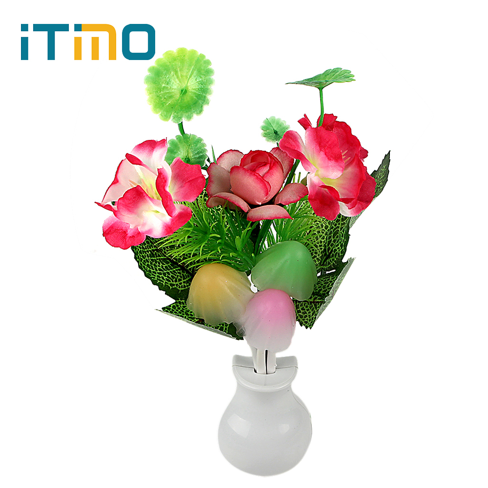 ITimo Birthday Gift For Children Romantic LED Night Light Lamp Light Sensor Home Bedroom Decoration Mushroom Flower Plant