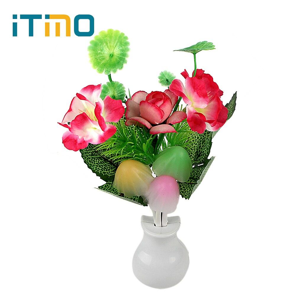 ITimo Birthday Gift for Children Romantic LED Night Light Lamp Light Sensor Home Bedroom Decoration Mushroom Flower Plant