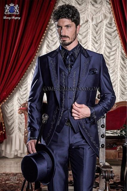 Latest Coat Pant Designs  Italian Purple Embroidery Satin Men Suit Custom Prom Suits Slim Fit 3 Piece Tuxedo Terno Masculino 007