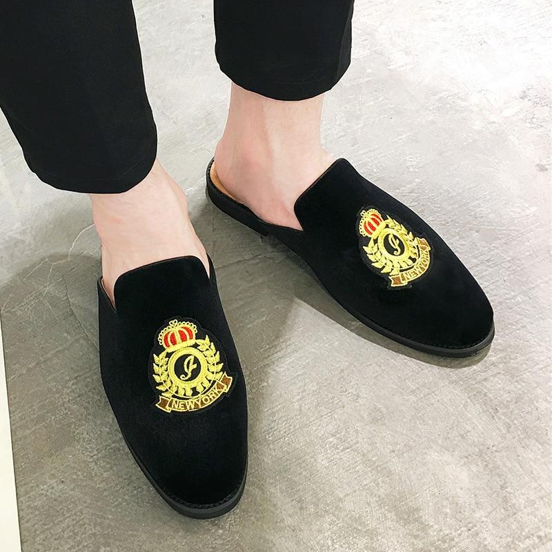 Men Sandals 2019 New Summer Half Slippers Men Shoes Suede Leather Sandals Causal Lazy Slip-on Men Slides Flip Flops Moccasins