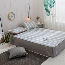 Solid color stripes Printing Cooling Ice Silk Bed Sheet Pillowcases Set Air Conditioning Summer Sleeping Mat