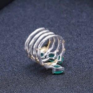 Image 4 - باليه من GEMS خاتم كلاسيكي من الفضة الإسترلينية عيار 925 على الطراز القوطي 2.26Ct خواتم للأصابع من الأحجار الكريمة بالعقيق الأخضر الطبيعي للنساء مجوهرات راقية