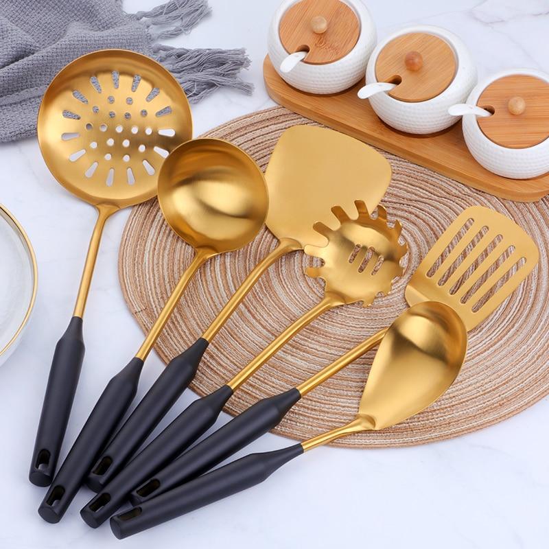 Dolls House Rose Gold Metal kitchen UTENSILS Cooking Filter Spoon Fork Rack