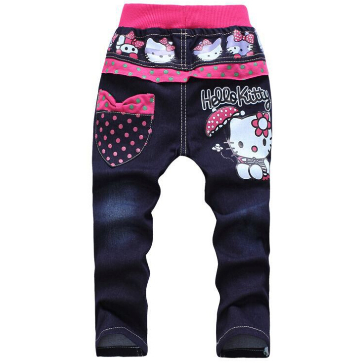Free shipping korean children s clothing hello kitty girls jeans for kids wholesale and retail