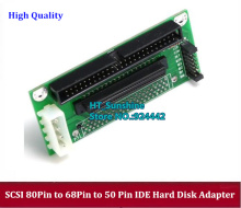 цена на Wholesale SCSI SCA 80 Pin to 68 Pin to 50 Pin IDE Hard Disk Adapter Converter Card Module Board Card For Hard Disk 1pcs/lot