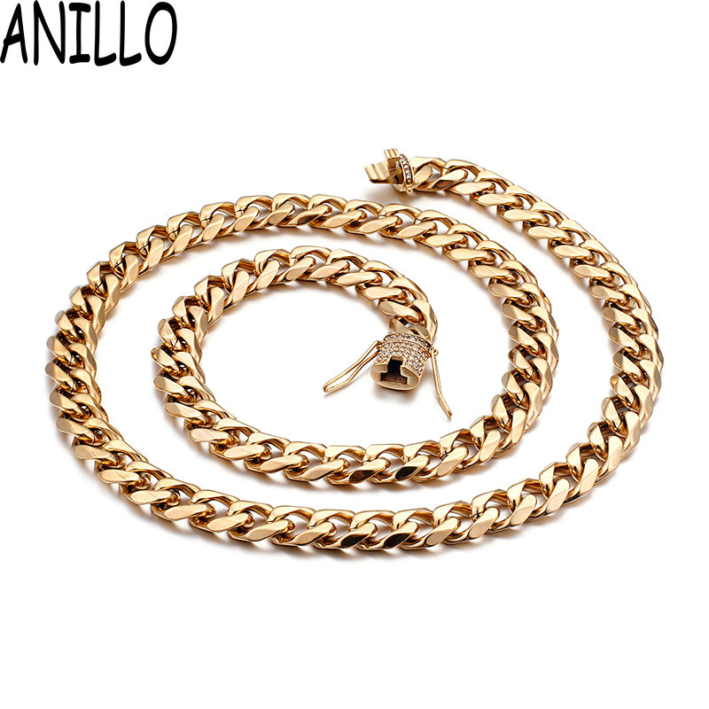 ANILLO Curb Chain Necklace Hollow Miami Cuban Link Chain For Men Necklace Long Stainless Steel Gold Color CZ Jewelry emanco stainless steel jewelry femme rose gold color link chain necklace with cute pendants simple brand design fashion jewelry