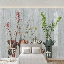 Custom wallpaper Nordic fashion fresh green plant flower potted TV background wall high-grade waterproof material high quality fresh green potted shape removeable wall stickers