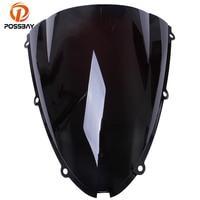 POSSBAY Dark Smoke Motorcycle Windshield Double Bubble Windscherm Scooter Windscreen For Kawasaki ZX6R 2005 2006 2007 2008