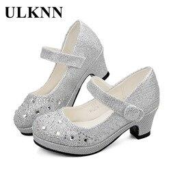 Ulknn crianças sapatos para meninas princesa festa de casamento sapatos de salto alto glitter sandálias de cristal macio sapato escolar verão 2018
