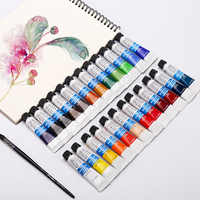 Watercolor paint 12/18/24 color tube color pigments beginner portable sketch set boxed single tubular art supplies