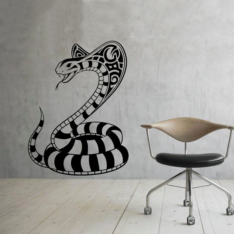 DCTOP PVC Wall Stickers For Living Room Home Decor Self Adhesive Art Murals  Snake Cobra Wall Decals Animal Part 29