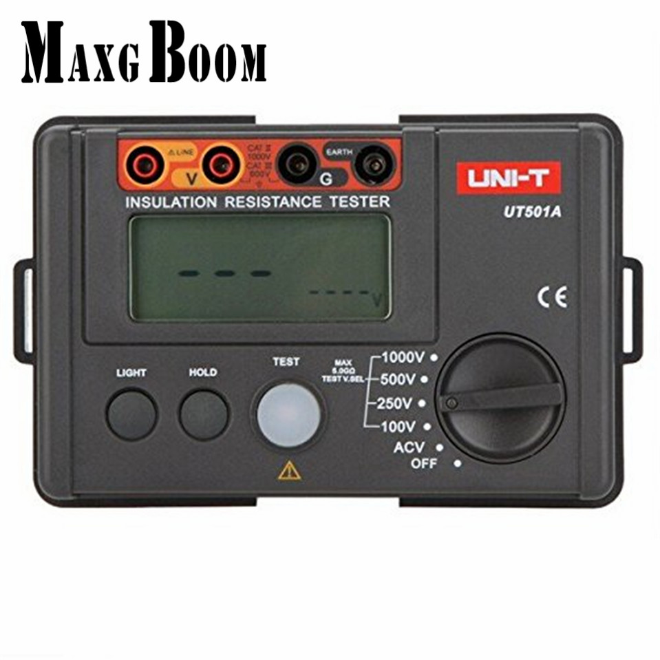 MaxgBoon UNI-T UT501A 1000V Insulation Resistance Meter Ground Tester Megohmmeter Voltmeter w/LCD Backlight Free Shipping
