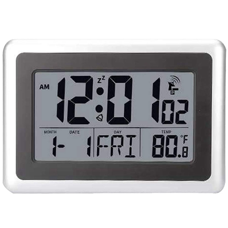 Atomic Digital Wall Clock, Large Lcd Display, Battery Operated, Indoor Temperature, Calendar, Table Standing, Snooze Without B