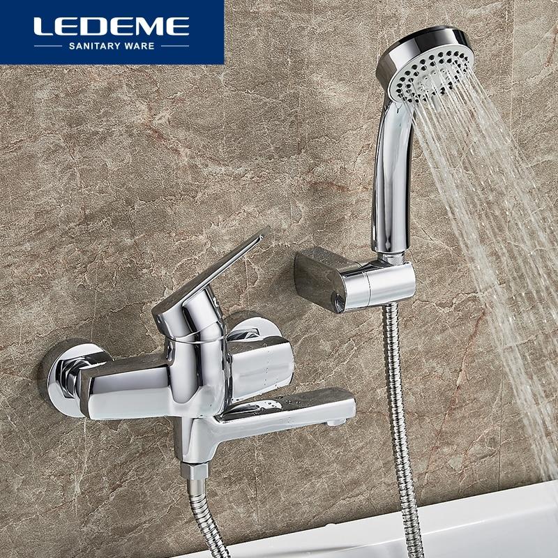 LEDEME Bathtub Faucet 1 Set Bathroom Chrome Plated Round Shower Head Faucets Surface Bathtub Faucets Outlet Pipe Bath L3140